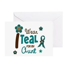 I Wear Teal For My Aunt 12 Greeting Card