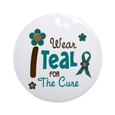 I Wear Teal For The Cure 12 Ornament (Round)