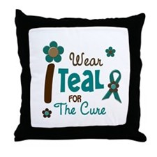I Wear Teal For The Cure 12 Throw Pillow