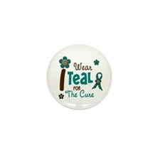 I Wear Teal For The Cure 12 Mini Button (10 pack)