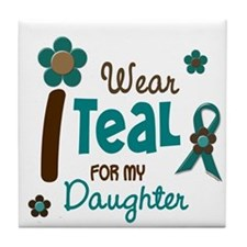 I Wear Teal For My Daughter 12 Tile Coaster
