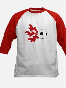 Soccer Ball Flames Kids Baseball Jersey