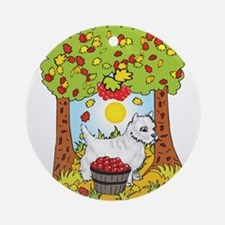 Fall West Highland White Terrier Ornament (Round)