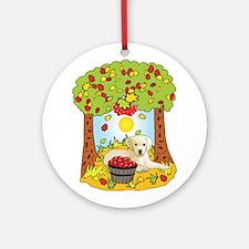 Fall Yellow Labrador Ornament (Round)