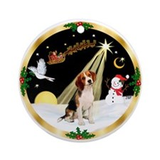 Night Flight/Beagle Ornament (Round)