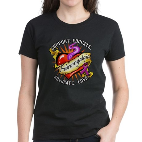 Fibromyalgia Heart Tattoo Women's Dark T-Shirt