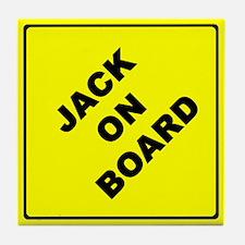 JACK ON BOARD parody Tile Coaster