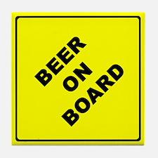 BEER ON BOARD parody Tile Coaster