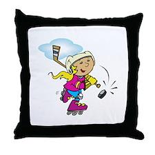 Cute Hockey Girl Throw Pillow
