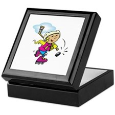 Cute Hockey Girl Keepsake Box