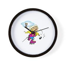 Cute Hockey Girl Wall Clock