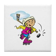 Cute Hockey Girl Tile Coaster