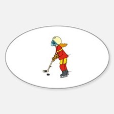 Girl Ice Hockey Player Oval Decal