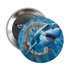 "Great White 1 2.25"" Button"