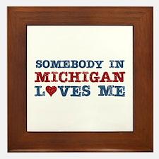 Somebody in Michigan Loves Me Framed Tile