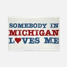 Somebody in Michigan Loves Me Rectangle Magnet