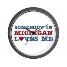 Somebody in Michigan Loves Me Wall Clock