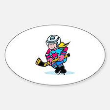 Blonde Hockey Girl Oval Decal