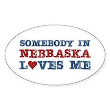 Somebody in Nebraska Loves Me Oval Decal