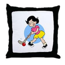 Hockey Chick Throw Pillow