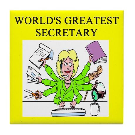 secretary gifts t-shirts Tile Coaster