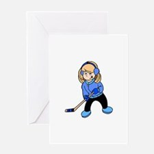 Blonde Hockey Girl Greeting Card
