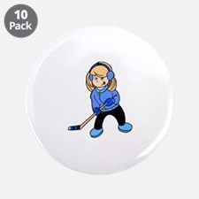 "Blonde Hockey Girl 3.5"" Button (10 pack)"