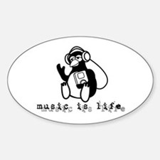 Music Is Life Oval Decal
