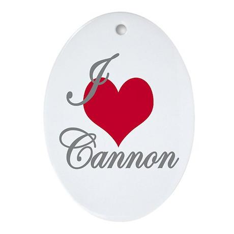 I love (heart) Cannon Oval Ornament
