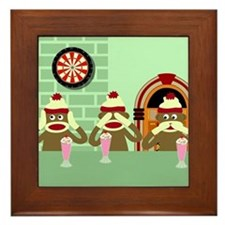 No Evil Sock Monkeys Ice Cream Framed Tile