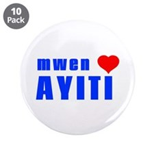 "Haiti map 3.5"" Button (10 pack)"