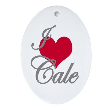 I love (heart) Cale Oval Ornament