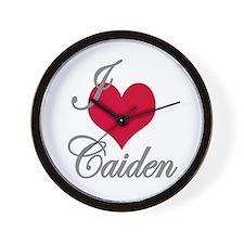 I love (heart) Caiden Wall Clock
