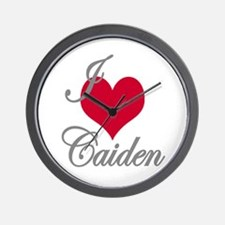 I love (heart) Caiden Wall Clock