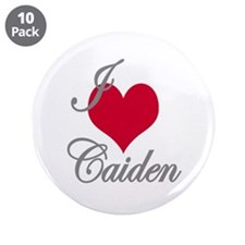 "I love (heart) Caiden 3.5"" Button (10 pack)"
