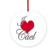 I love (heart) Cael Ornament (Round)
