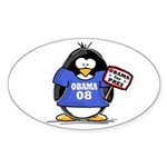 Obama 08 Penguin Oval Sticker