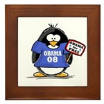 Obama 08 Penguin Framed Tile