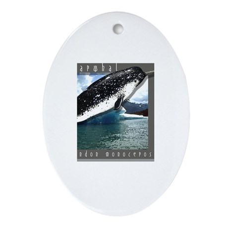 Narwhal Art Oval Ornament