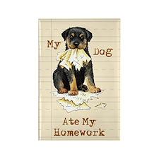 Rottweiler Ate Homework Rectangle Magnet