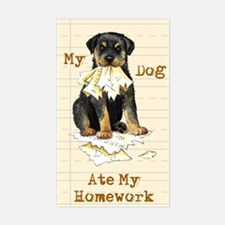 Rottweiler Ate Homework Rectangle Decal