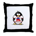 Republican Penguin Throw Pillow