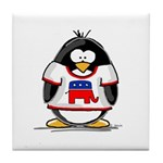 Republican Penguin Tile Coaster