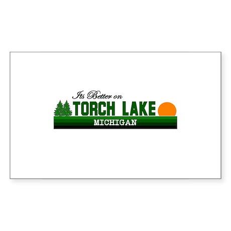 Its Better on Torch Lake, Mic Rectangle Sticker