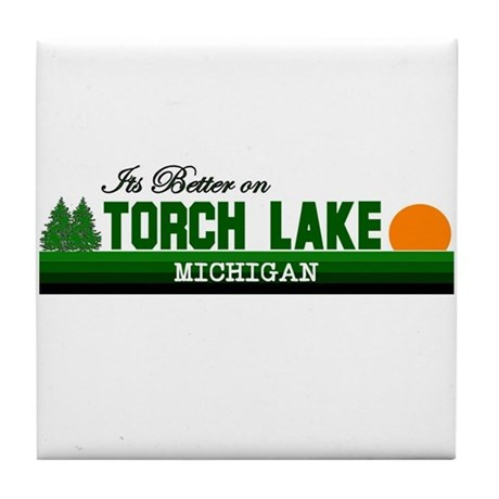 Its Better on Torch Lake, Mic Tile Coaster