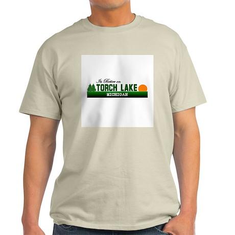 Its Better on Torch Lake, Mic Light T-Shirt
