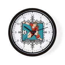 Aggressive Women's Soccer Wall Clock