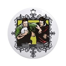 Aggressive Rugby Ornament (Round)