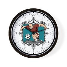 Aggressive Men's Soccer Wall Clock