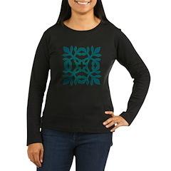 Green Papercut Women's Long Sleeve Dark T-Shirt